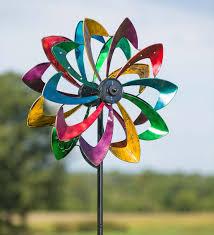 solar led flower wind spinner antique