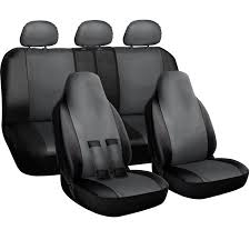 oxgord car seat cover pu leather solid black front low bucket 50 50 60 40 rear split bench universal fit cars trucks suvs vans 10 pc complete full