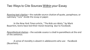 How To Cite An Article Inside An Essay Mla In Text Citation