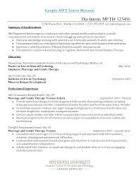 Mft Resume Resume For Study