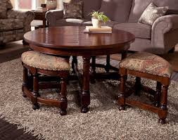 charming coffee table with stools underneath and brown