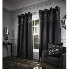 Black living room curtains Amazing Catherine Lansfield Glitzy Eyelet Curtains Black 66x90 Inch Amazon Uk Black And White Curtains For Living Room Amazoncouk