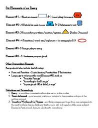 1 Page Essay Format 6 Elements Of An Essay One Sheet By Jacqueline Clenance Tpt