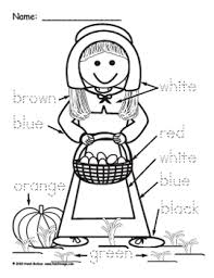 Small Picture Heidisongs Resource Pilgrim Boy and Girl Color Word Worksheets