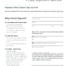 Direct Deposit Template Free Direct Deposit Enrollment Form School Template Free Sign Up