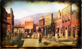 i yellowed the print then added a bubble overlay and a black rusted frame to this lively old west town