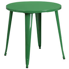 green metal 30 inch round indoor outdoor cafe table