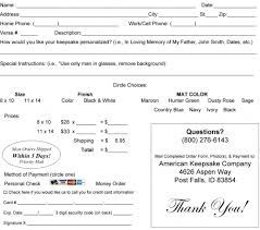 Printable Order Form | Americankeepsake.com