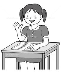 質問する女の子 モノクロ イラスト素材 2170805 無料 フォトライブ