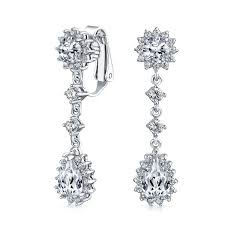 bling jewelry rhodium plated color cz bridal chandelier clip on earrings