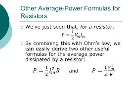 other average power formulas for resistors