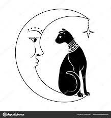 Kočka Na Měsíci Vektorové Ilustrace Lze Použít Jako Tetování Boho