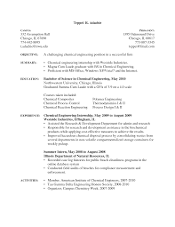 Cool Sample Resume Chemical Engineering Internship Photos Example