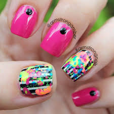 Paint Splash Nail Design Neon Paint Splatter Nail Art W Stripes By Amber Armstrong