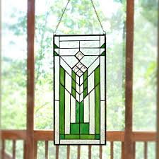 river of goods green and clear mission style stained glass window panel