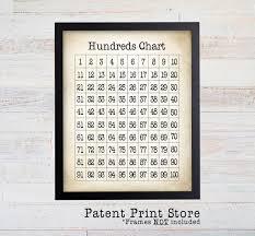 Hundreds Chart Print 100s Chart Art Print Childrens Room Art Print Math Poster Playroom Art Educational Art Home School Art Print 160
