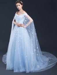 Light Blue Wedding Dress With Sleeves 2019 Light Blue Wedding Dresses Off The Shoulder Lace Tulle Applique Floor Length Long Bridal Gowns Vintage Cathedral Train January 2020