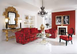 luxurious trend formal living room design featuring elegant red florals pattern theme velvet sofa with track brilliant red living room furniture