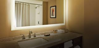 Mirror Design Ideas: Yellow Golden Bathroom Lighted Mirror Seura ...