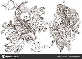 эскизы татуировки карп кои векторное изображение Filkusto
