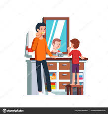 cartoon bathroom sink and mirror. Home Bathroom Interior With Sink, Mirror, Vanity Cabinet, Drawers. Dad Teaching Boy Kid How To Brush. Personal Hygiene. Flat Style Cartoon Vector Sink And Mirror