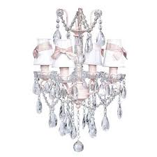 jubilee collection pink four light glass center crystal mini chandelier with white shades and pink