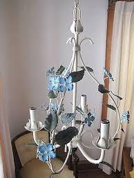rare vintage wrought iron shabby tole metal blue flowers fl chandelier lamp