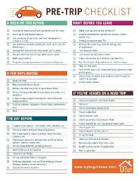 Printable Pre Trip Checklist Family Road Trip Packing