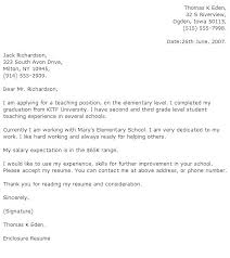 Experienced Teacher Cover Letters Sample Cover Letter For Teacher Sample Cover Letter For Teaching