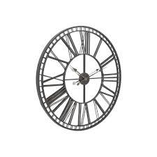 black iron and mirror skeleton wall clock