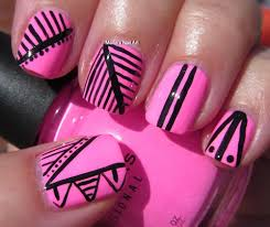 Nail Art Designs Black And Pink Hession Hairdressing
