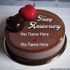Write Name On Heart Chocolate Cake For Anniversary