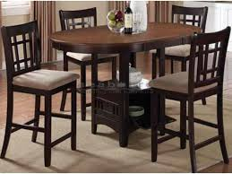 the coaster 105278 levon two tone 5pc counter height dining table set features an elegant oval