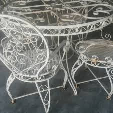 white iron patio furniture. Plain Patio Captivating White Wrought Iron Outdoor Furniture Patio Set  Ornate Vintage Table And 4 Arm Throughout G
