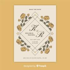 vintage fl wedding invitation template free vector