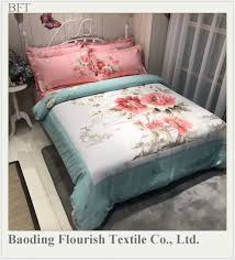 eco friendly wedding luxury 4pcs 100 cotton super king size big flower cotton bedding set
