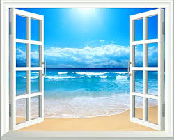 window wall art sunshine beach window decoration view removable wall art sticker vinyl decal mural decor window wall art window wall mural decal