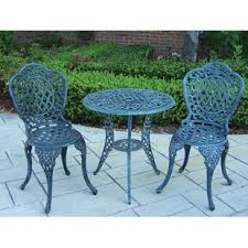 Green wrought iron patio furniture Industrial Quickview Sonokamome Piece Cast Iron Bistro Set Wayfair
