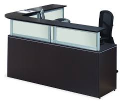 office source borders ii series l shape receptionist desk 6 laminate finish options