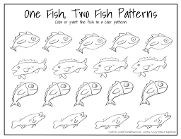 Printable Coloring Pages color pages of fish : Vintage One Fish Two Fish Red Fish Blue Fish Coloring Pages ...
