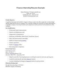 Resume With Internship Experience Examples Finance Intern Resumes Under Fontanacountryinn Com