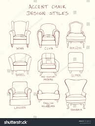 chair design drawing. Vector Visual Guide Of Accent Chair Design Styles. Hand Drawn Set Made In Linear Drawing O