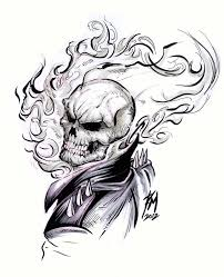 Image Result For Ghost Rider Tatoo Skull Outline Draws In 2019