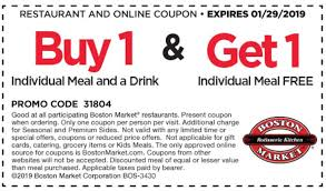 Boston Market Bogo Free Individual Meal With Purchase Of