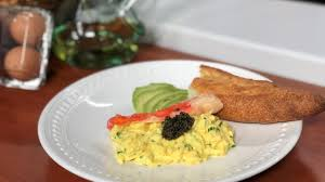 Soft scrambled eggs with king crab ...
