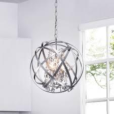 Richwood 3 Light Globe Chandelier Benita Silver 3 Light Metal Globe Crystal Chandelier The