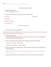 Mla Style Documents Mla Worksheet Practice Answers
