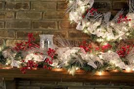 ... mantel theme close-up of silver & white w/ red berries