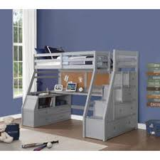 Full size bunk bed with desk Desk Underneath Acme United Acme 37445 Jason Ii Gray Finish Wood Twin Size Loft Bed Desk Drawers Steps Sears Wood Loft Bed With Desk