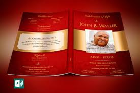 Design Your Own Funeral Program Red Gold Dignity Funeral Program Publisher Template On Behance